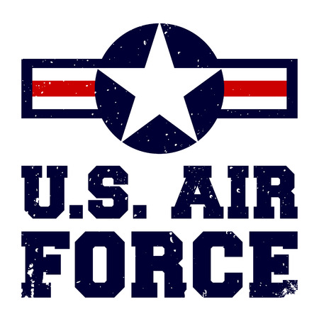 T-shirt print design. U.S. Air Force vintage tshirt stamp. Printing and badge applique label t-shirts, jeans, casual wear. Vector illustration.