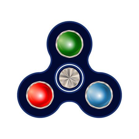 Spinner isolated on white background. Finger fidget spinner - stress relieving hand toy. Vector illustration.
