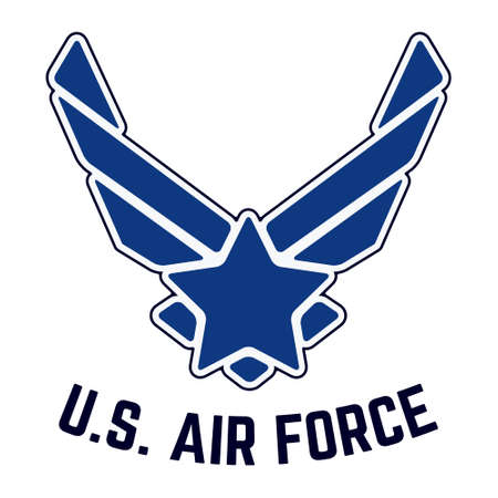 usaf: T-shirt print design. U.S. Air Force tshirt stamp. Printing and badge applique label t-shirts, jeans, casual wear. Vector illustration.
