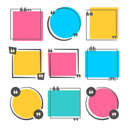 Cita de color en blanco plantilla cuadrada. Las citas vacías forman y caja del discurso aislada en el fondo blanco. Ilustracion vectorial