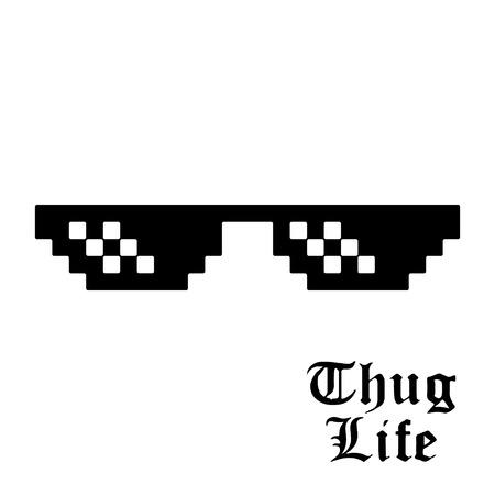 흰색 배경에 고립 된 픽셀 안경입니다. Thug life meme glasses. 벡터 일러스트 레이 션. 일러스트