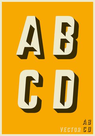 Alphabet font template. Set of letters A, B, C, D logo or icon glitch design. Vector illustration.