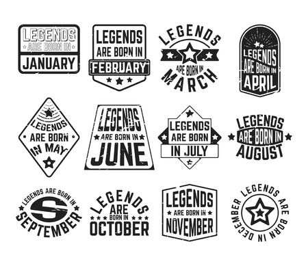 Design imprimé t-shirt. Ensemble de - légendes sont nés dans divers mois - timbre ou patch de t-shirt texturé vintage. Concevez des badges, des appliques, des étiquettes, des t-shirts, des jeans et des vêtements de loisirs. Illustration vectorielle