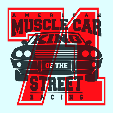T-shirt print design. American muscle car vintage t shirt stamp. Printing and badge applique label t-shirts, jeans, casual wear. Vector illustration. Illustration