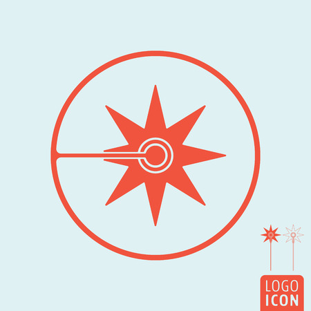 Laser icon isolated. Flash sparks of laser beam symbol. Vector illustration. Illustration