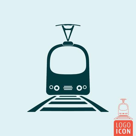 Tram icon isolated. Rail vehicle transportation symbol. Vector illustration Illustration
