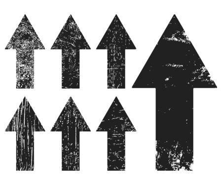 Set of black grunge texture arrrows Stock Photo