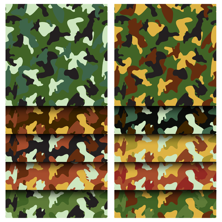 Camouflage clothing seamless patterns set