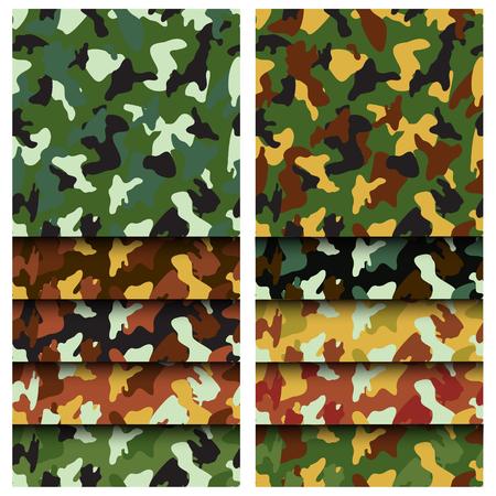 Camouflage clothing seamless patterns set