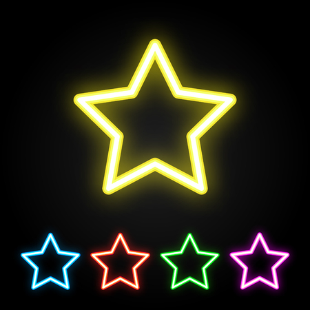 Colorful neon star. Glowing colored stars set. Vector illustration.