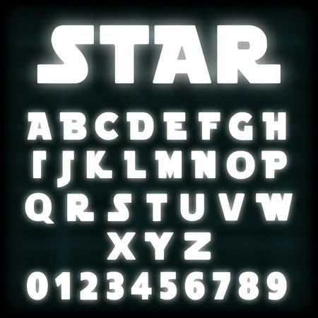 Alphabet font template white neon design.