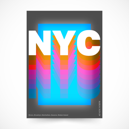 New York city poster. NYC colorful design for magazine, printing product, cover, flyer, presentation, typography, t-shirt graphic, brochure or booklet vector illustration