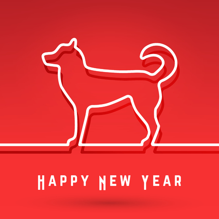 Dog Chinese Symbol New Year Cover Template Minimal Line Design