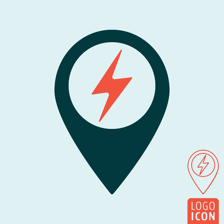Electric car charging station map pin icon. Electrical cable plug charge location point. Vector illustration.