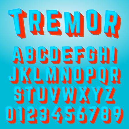 Alphabet font tremor design on colorful presentation.