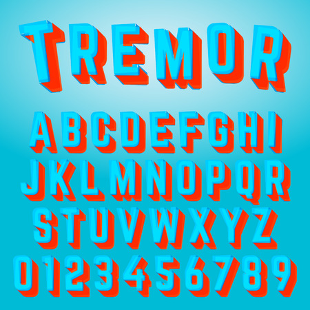 Alphabet font tremor design on colorful presentation.