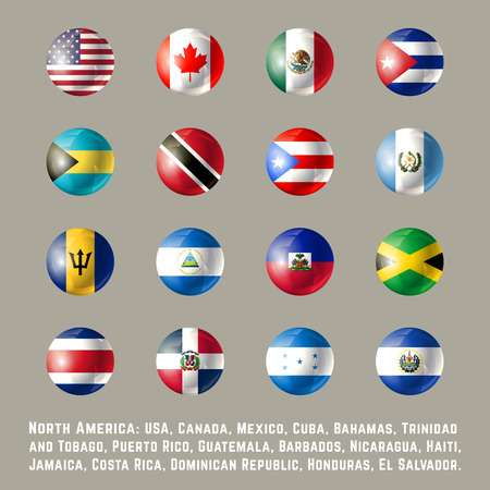 North America round flags