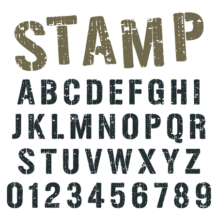 alphabet font template vintage letters and numbers stamp army