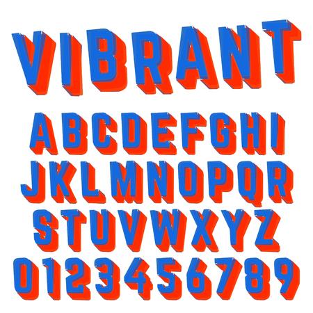 Alphabet font vibrant design Illustration