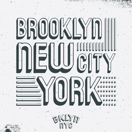 Brooklyn New York City t-shirt print illustration. Ilustração