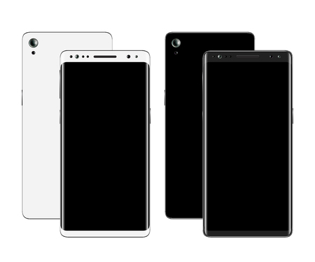 Smartphones front and back view Vector illustration.