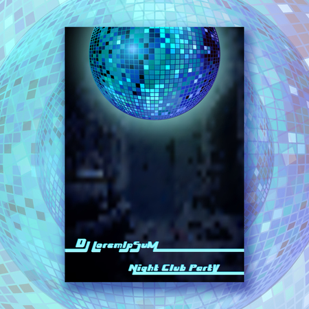 Party poster with mirror ball design