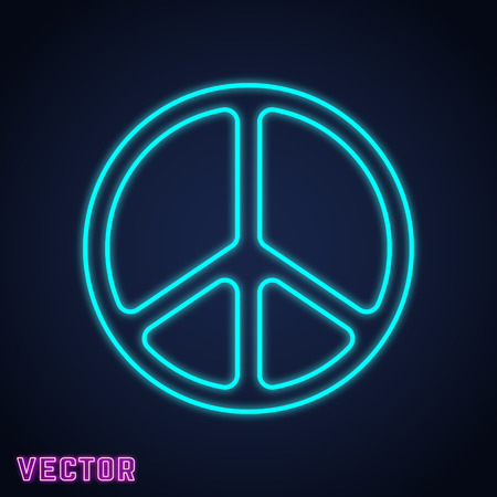 Peace symbol neon light design. Vector illustration. Illustration