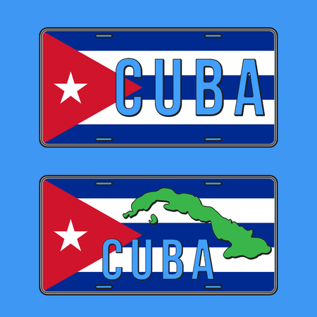 Cuba car number plate. Vehicle registration plates with Cuban flag. Vector illustration. Stock Illustratie