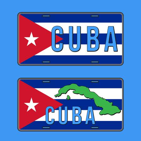 Cuba car number plate. Vehicle registration plates with Cuban flag. Vector illustration. Illusztráció