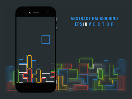 Smartphone on old video game background Illustration
