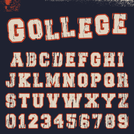 College alphabet font template. Vintage letters and numbers varsity campus t-shirt design. Vector illustration.