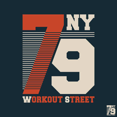 Workout street t shirt print stamp. Vintage design for printing products, badge, applique, t-shirt stamp, clothing label, gym or casual wear. Vector illustration.