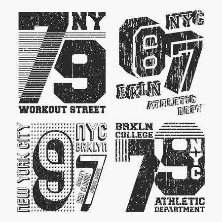 ブルックリンニューヨークヴィンテージTシャツスタンプセット。Tシャツプリントデザイン。印刷とバッジ、アップリケ、ラベルTシャツ、ジーンズやカジュアルウェア。ベクターの図。 写真素材 - 102837214