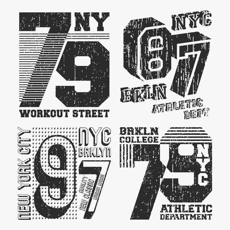 Brooklyn New York vintage t shirt stamp set. T-shirt print design. Printing and badge, applique, label t-shirts, jeans or casual wear. Vector illustration.