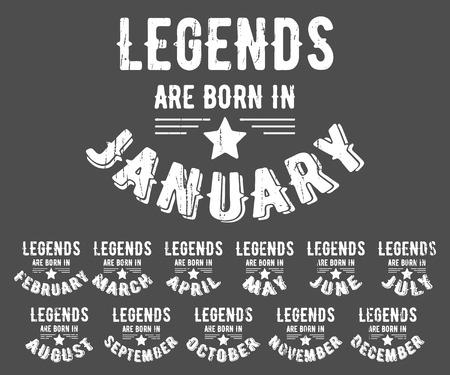 Legends are born vintage t-shirt stamp Illustration