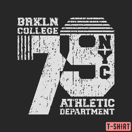 Brooklyn NYC college t-shirt textured stamp. Designed for printing products, badge, applique, label clothing, t-shirts stamps, jeans and casual wear. Vector illustration. Ilustração