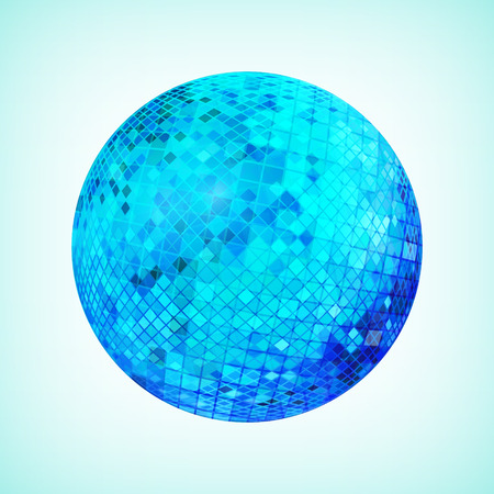 Blue discoball. Disco mirrorball designed for party flyer, art poster or cover brochure. Vector illustration. Illustration