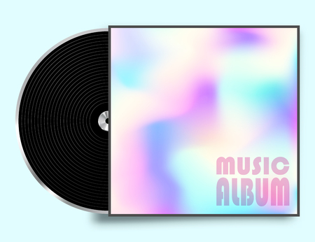 Vinyl record plate with colorful cover. Vector illustration. Illustration
