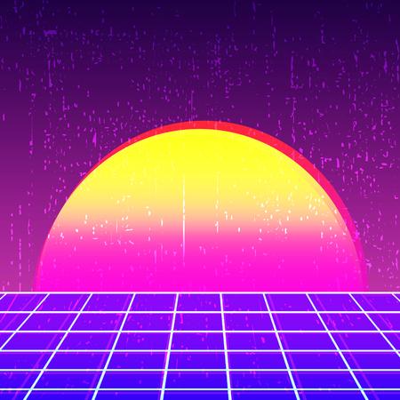 Retro background 80s design. Vintage backdrop template. Vector illustration.