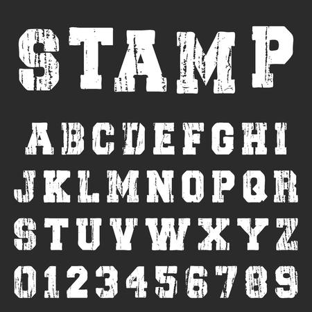 Old textured alphabet font template. Vintage letters and numbers varsity or college t-shirt design. Vector illustration. Vektorové ilustrace