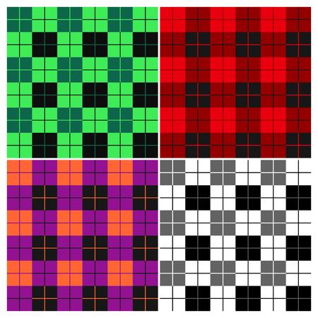 Lumberjack plaid pattern set. Alternating red, violet, orange, green, black and white squares seamless clothing background. Vector illustration.
