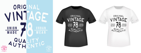 Vintage 78 t shirt print stamp. Textured design for printing products, badge, applique, t-shirt stamp, clothing label, jeans and casual wear tags. Vector illustration.