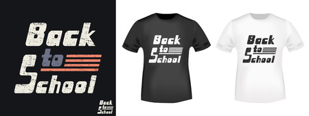 Back to school t shirt print stamp. Textured design for printing products, badge, applique, t-shirt stamp, clothing label, jeans and casual wear tags. Vector illustration.