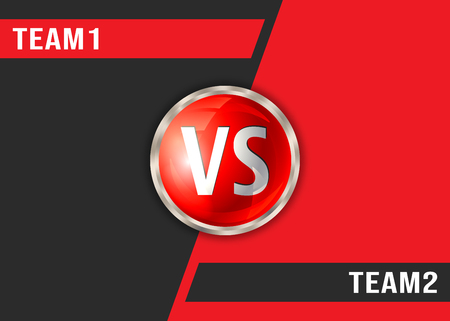 Versus red and black background. VS screen display template 向量圖像