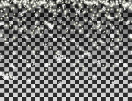Falling snowflakes on transparent background. Christmas snowfall template. Vector illustration.