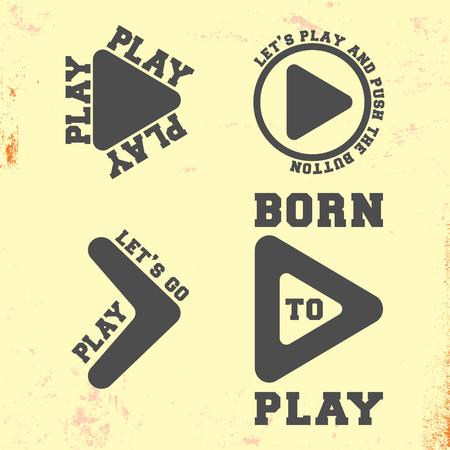 Play symbol t shirt stamp. T-shirt print design.