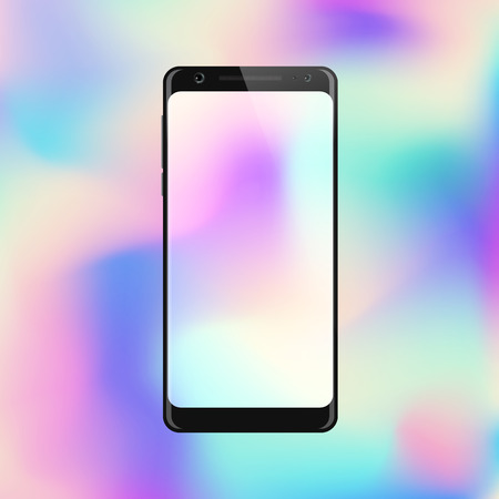 Smartphone on gradient background. Mobile phone with abstract colorful screen. Cell phone mockup design. Vector illustration.