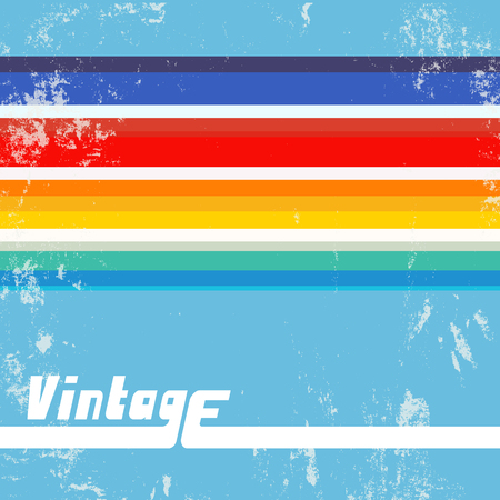 Retro background with colorful lines. Vintage grunge backdrop with color stripes. Vector illustration.