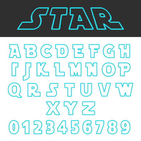 Blue lines design alphabet font template. Set of letters and numbers futuristic style