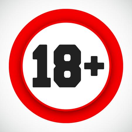 Signo de restricción de 18 años. Prohibido menores de dieciocho años símbolo rojo Ilustración de vector